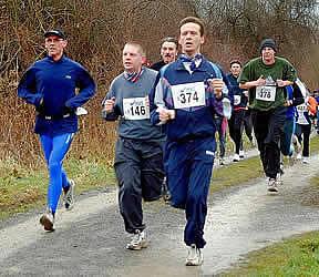 Bernhard Frey, Timo Brenk und Stephan Graw beim Silvesterlauf Forchheim 2004