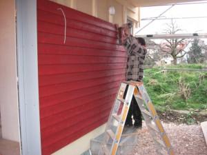 28.02.2014 Es geht weiter mit der Fassadenverschalung