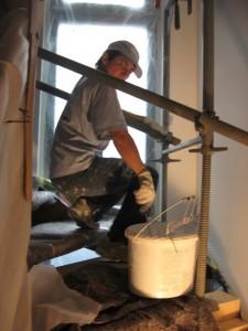 13.08.2014 Das obere Treppenhaus muss noch verputzt werden